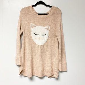 LC Lauren Conrad Pink Cat Knit Sweater Large